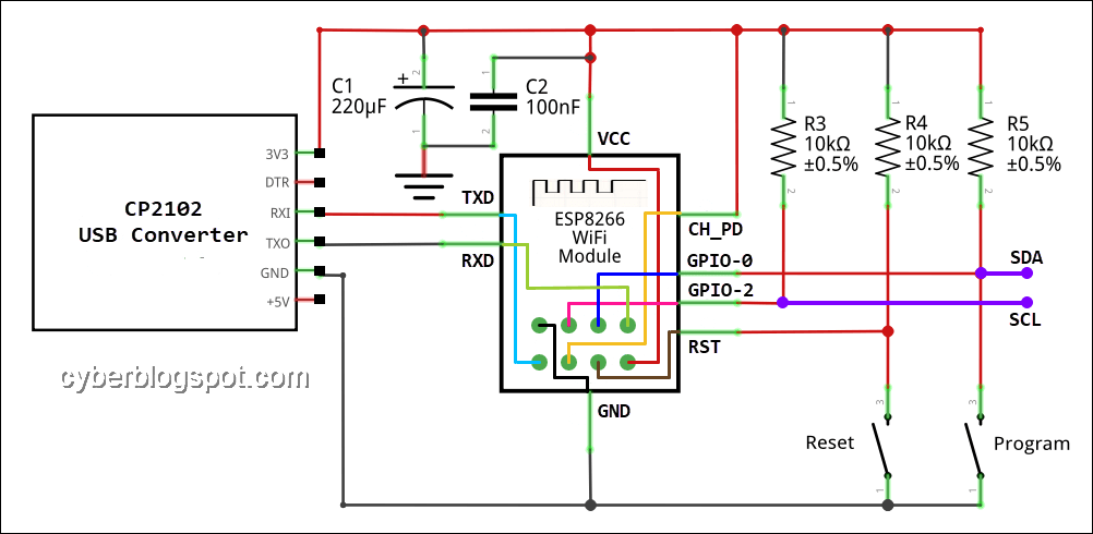 Wiring diagram of ESP-01 ESP8266 NTP Clock with LCD Display showing the SDA and SCL lines for connecting an LCD display