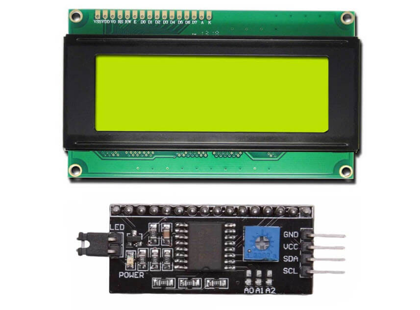image of 20x4 LCD display with I2C controller for esp-01 with RTC and LCD display project