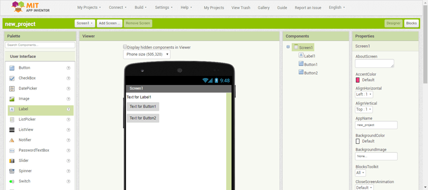 Screenshot showing the new project app with a label and two buttons
