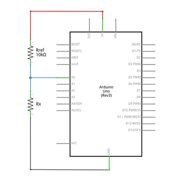Schematic diagram of a simple arduino ohmmeter, the basis for an arduino auto ranging ohmmeter