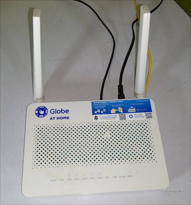 Picture of a Globe at Home router that needs the default username and password of Globe router